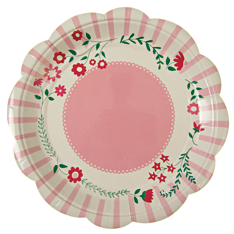 12 Pink flower plates