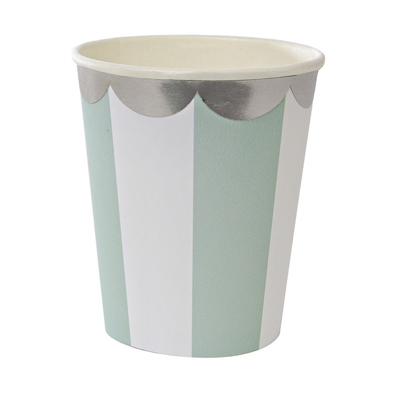 8 Aqua Stripe Party Cup