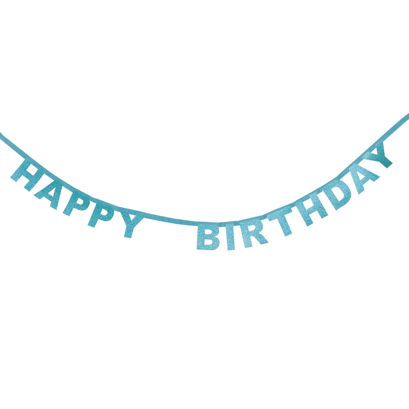 Blue glitter Happy Birthday garland