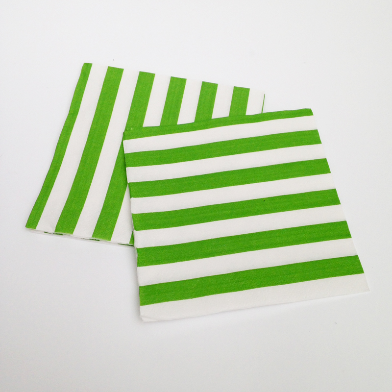 16 lime green and white stripes napkins