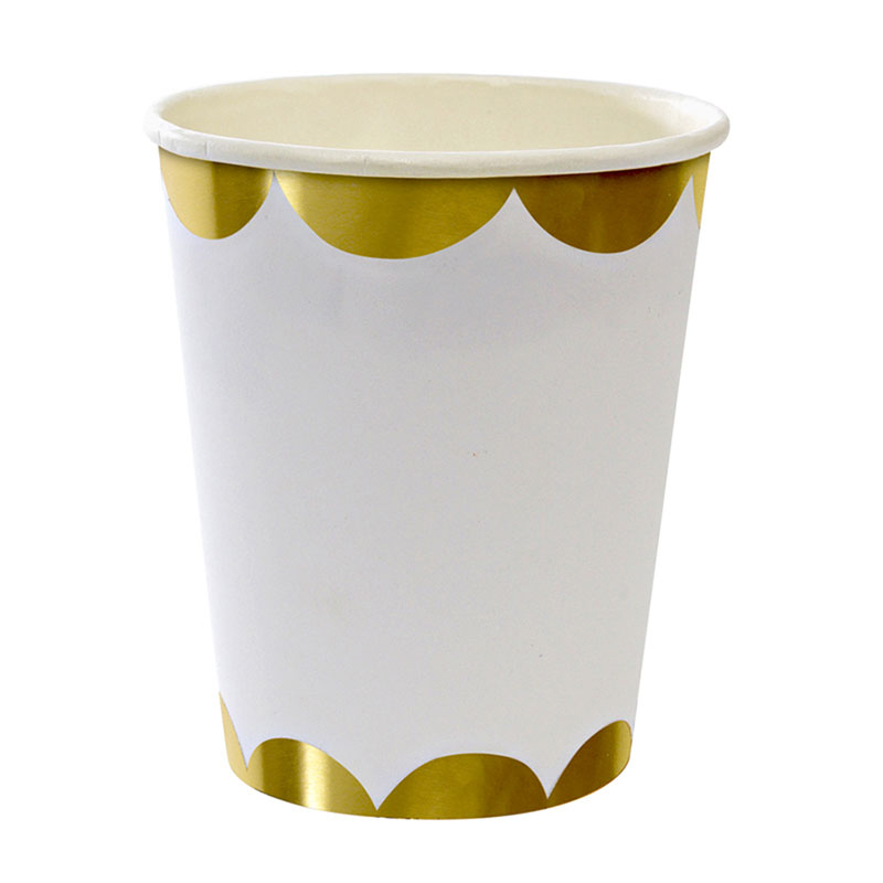 8 White with Gold Scollop Party Cup