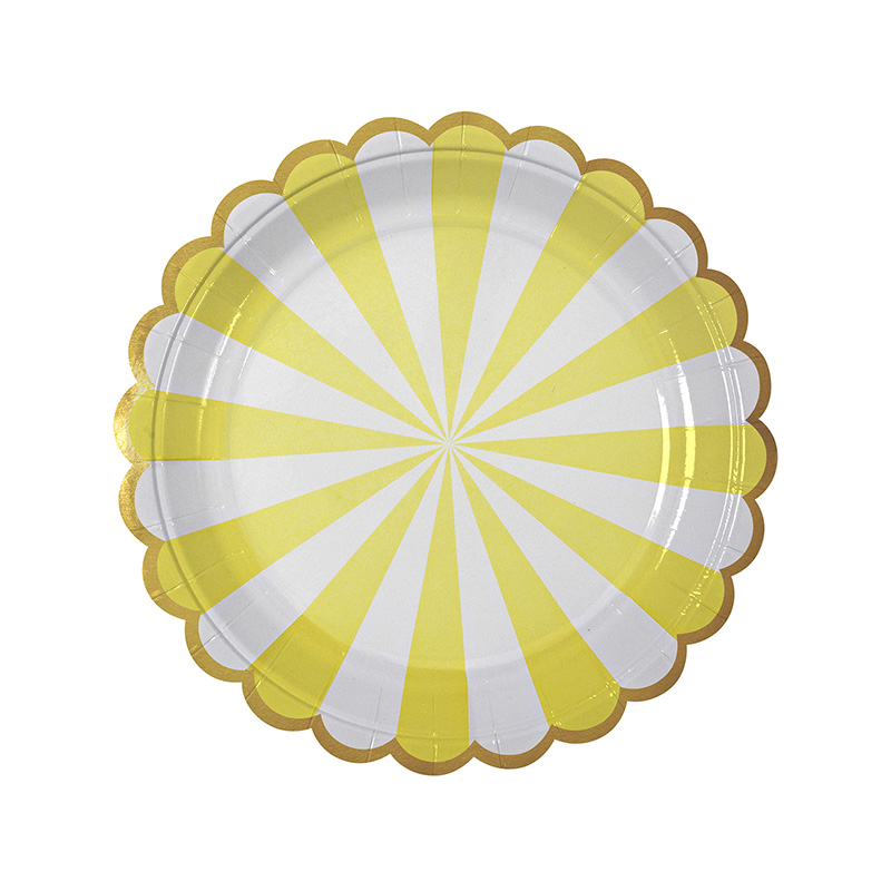 8 yellow striped plates