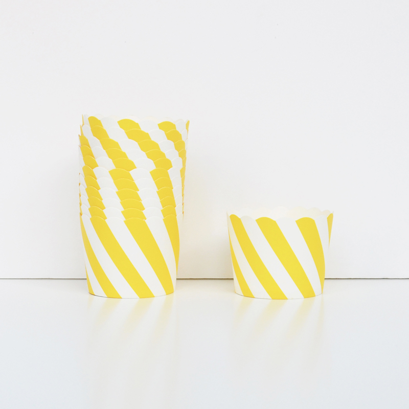 25 yellow striped cupcake liners
