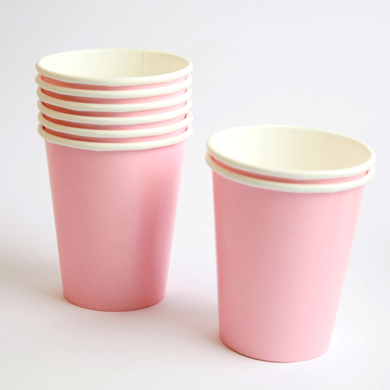 8 pale pink cups