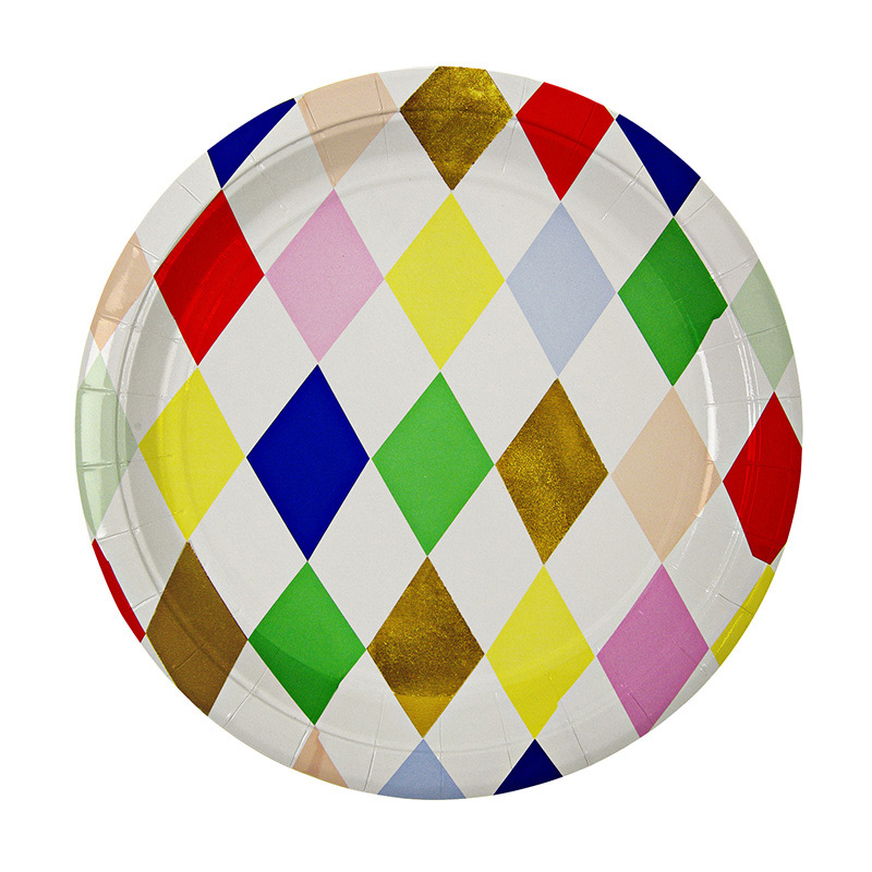 8 harlequin  pattern Plate