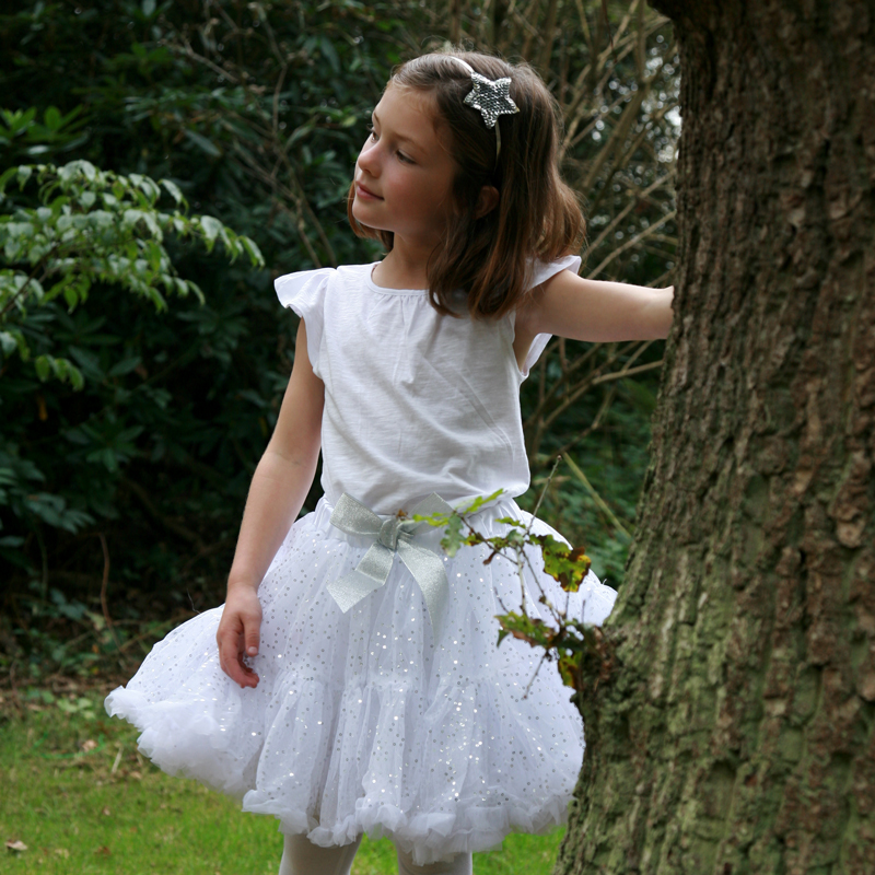 white with silver sequins Frilly Tutu Skirt