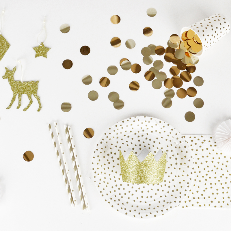 Gold and white stars party kit
