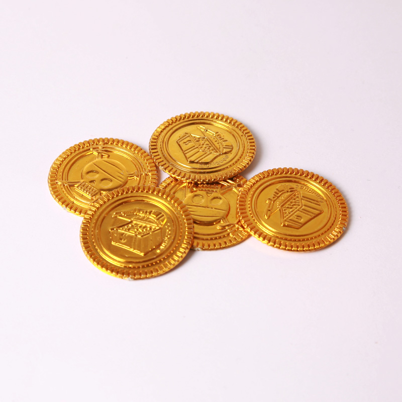 Gold pirate treasure coins