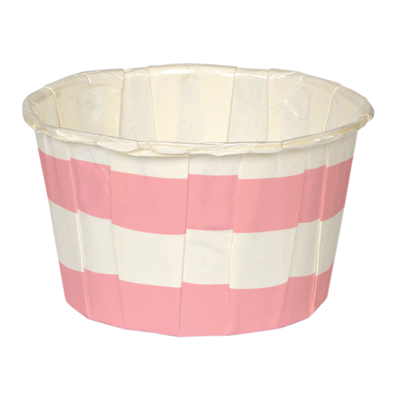 24 Pink Stripe Candy Cups