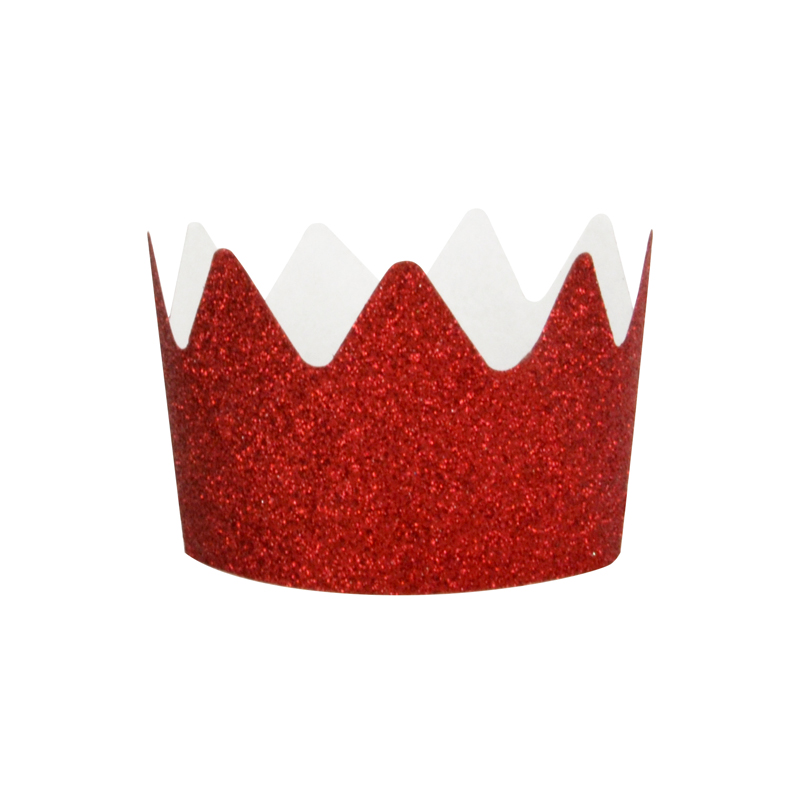 8 red glitter crowns