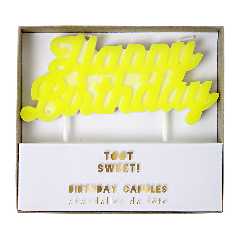 Happy Birthday Candle neon yellow