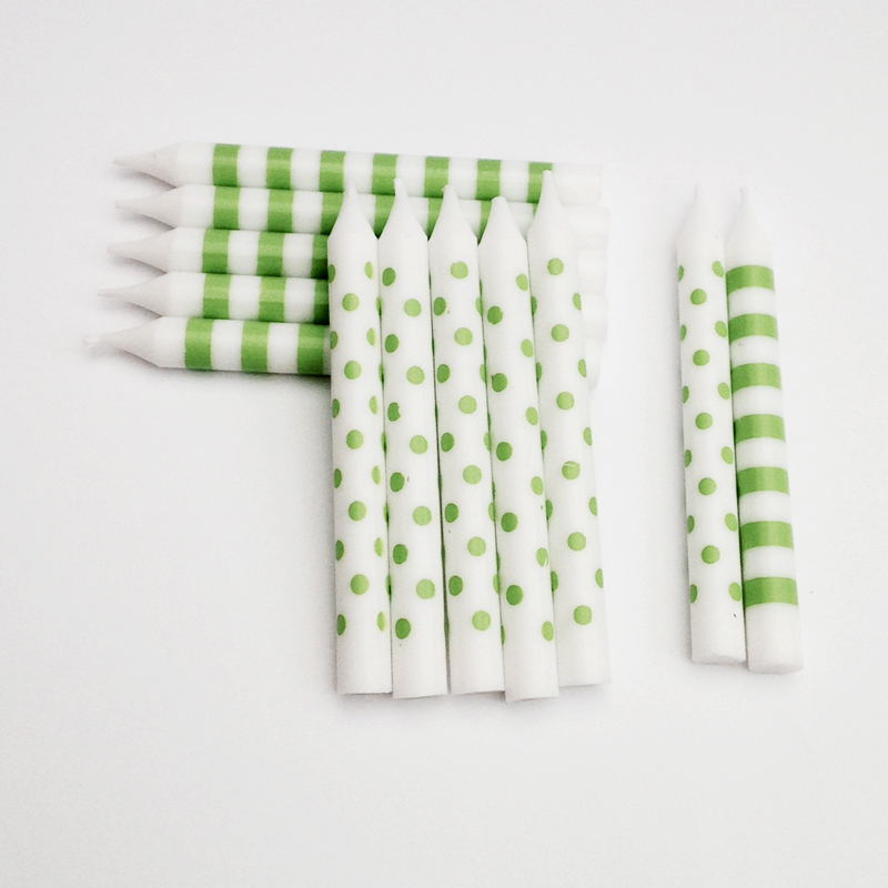 12 Green stripes and spots party candles