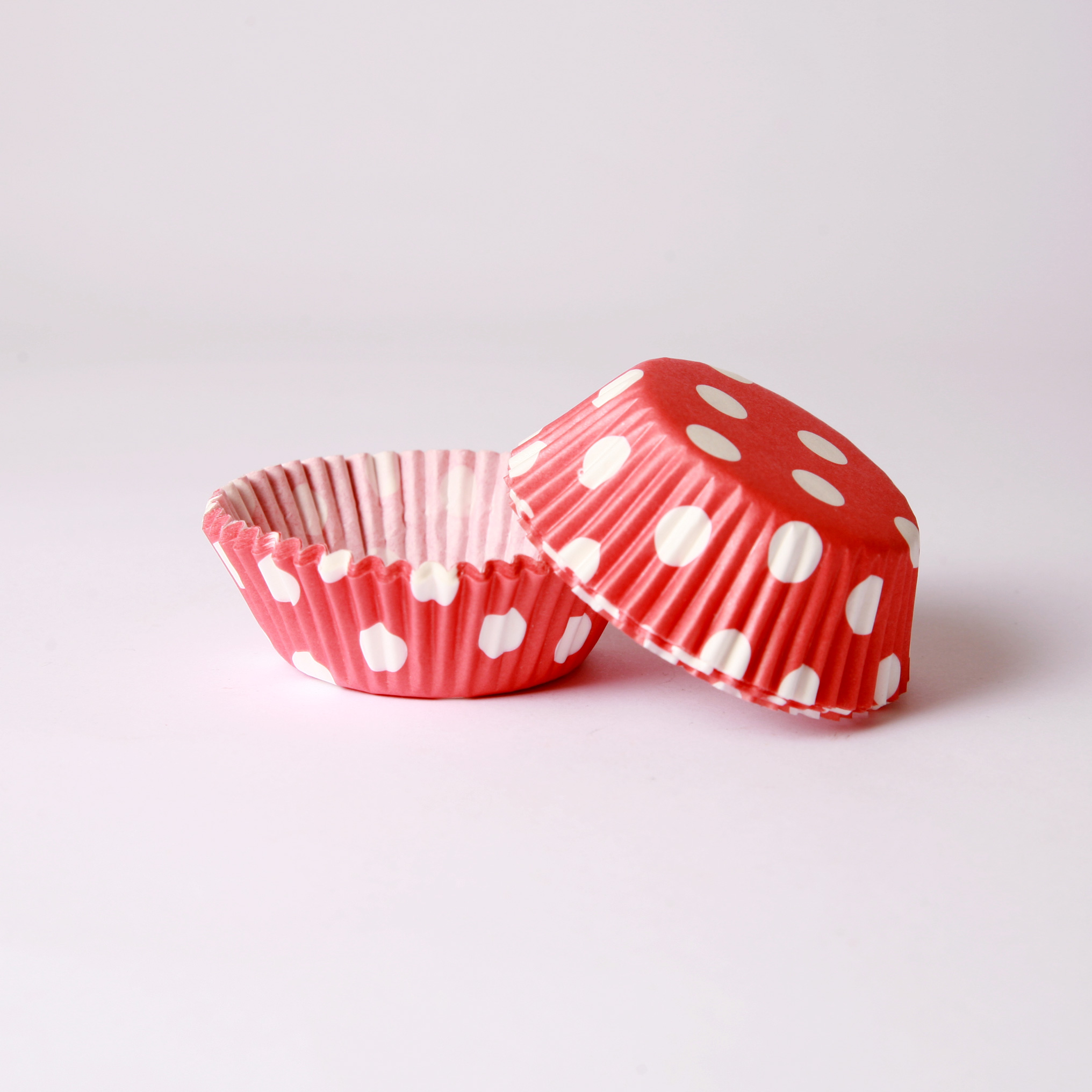 Red polka dot cupcake cases