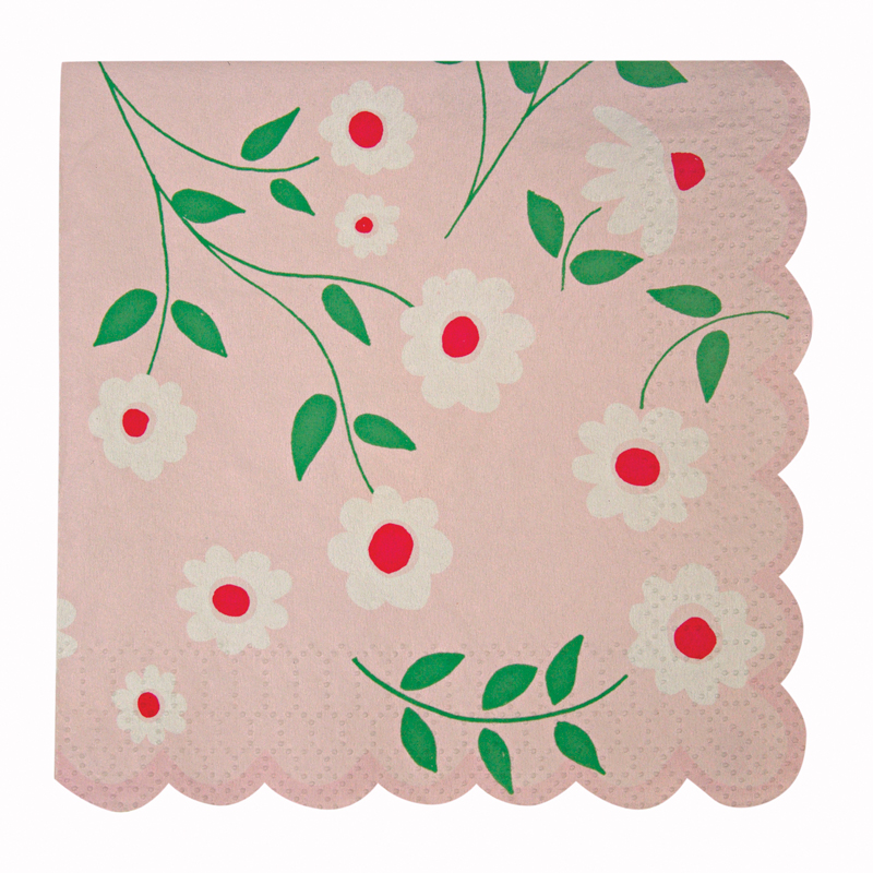 Pink flower napkins