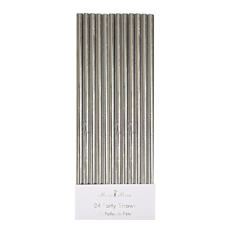 24 silver Foil Party Straws