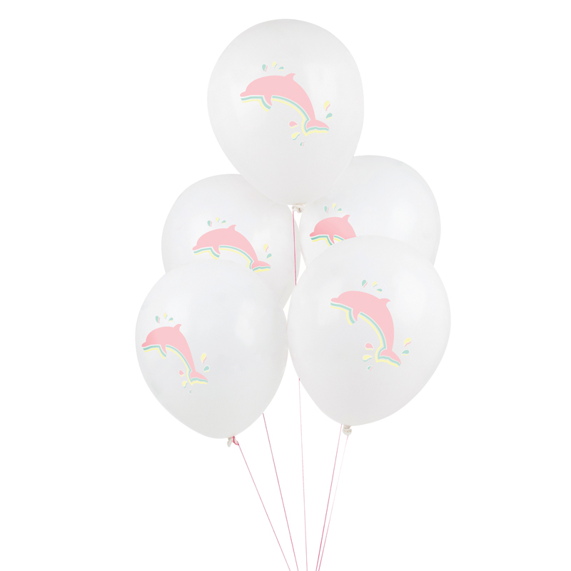 5 dolphin printed balloons