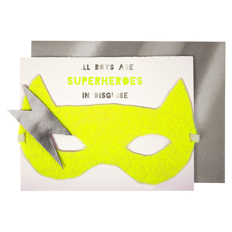 boy superhero mask card