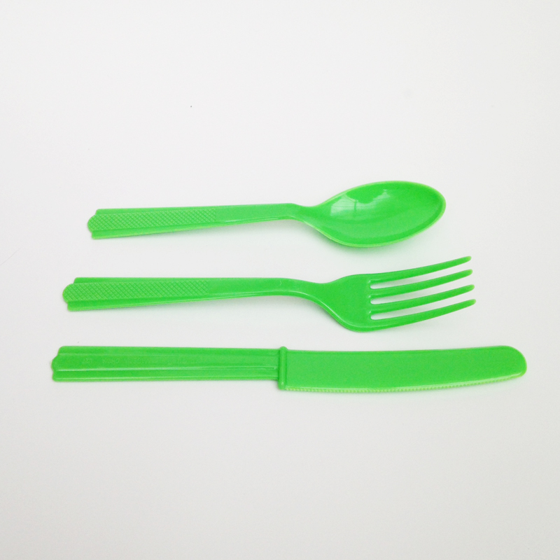 Lime green cutlery set