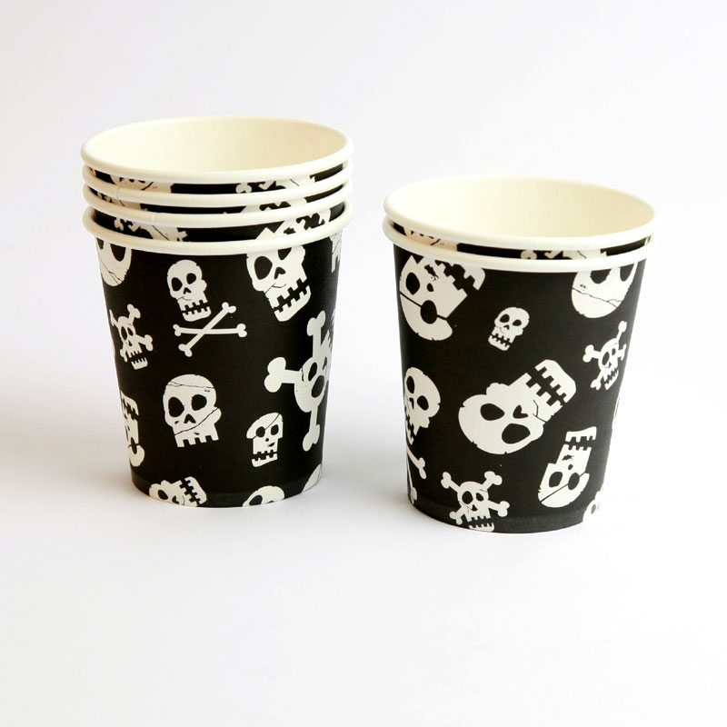 6 skull paper cups
