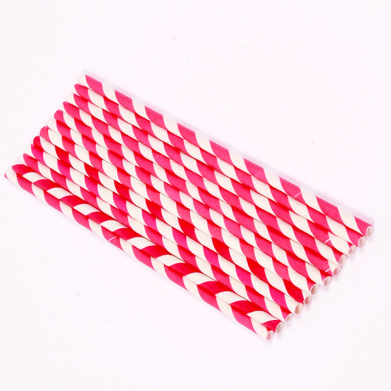 25 hot pink stripe paper straws