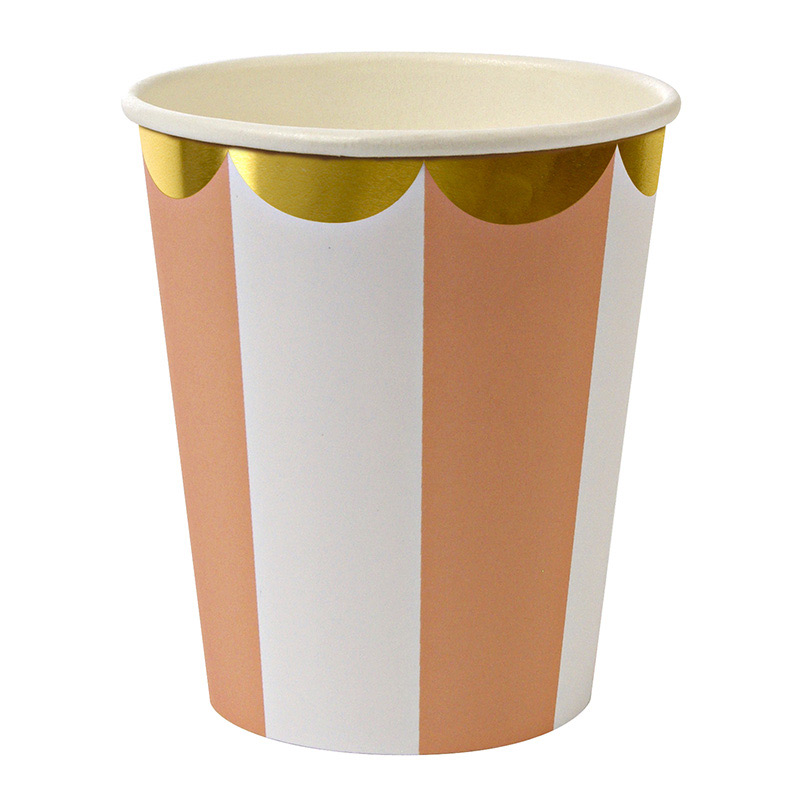 8 orange Stripe Party Cups
