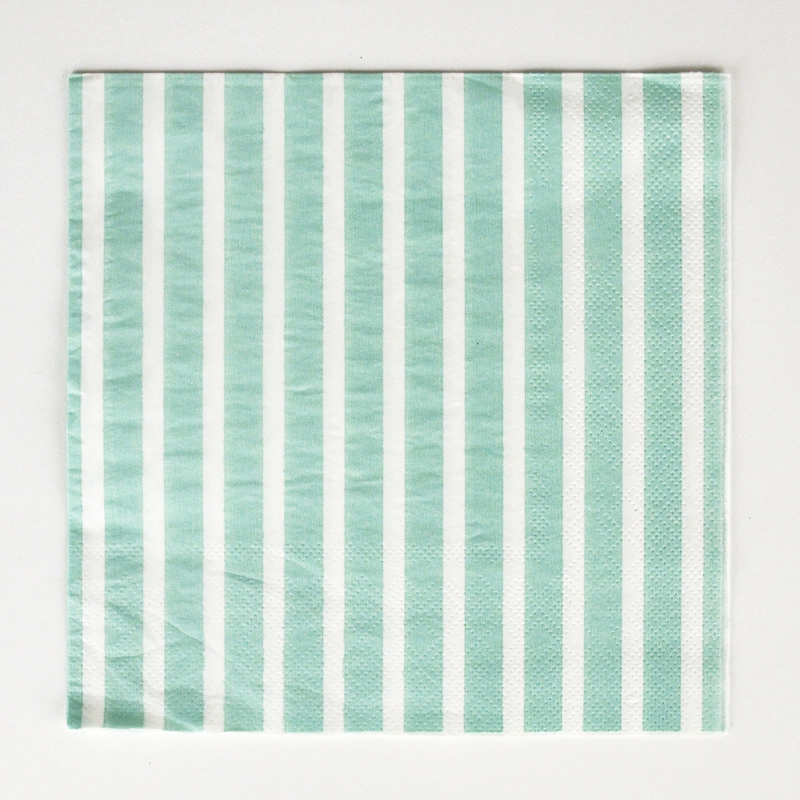 20 mint green striped napkins