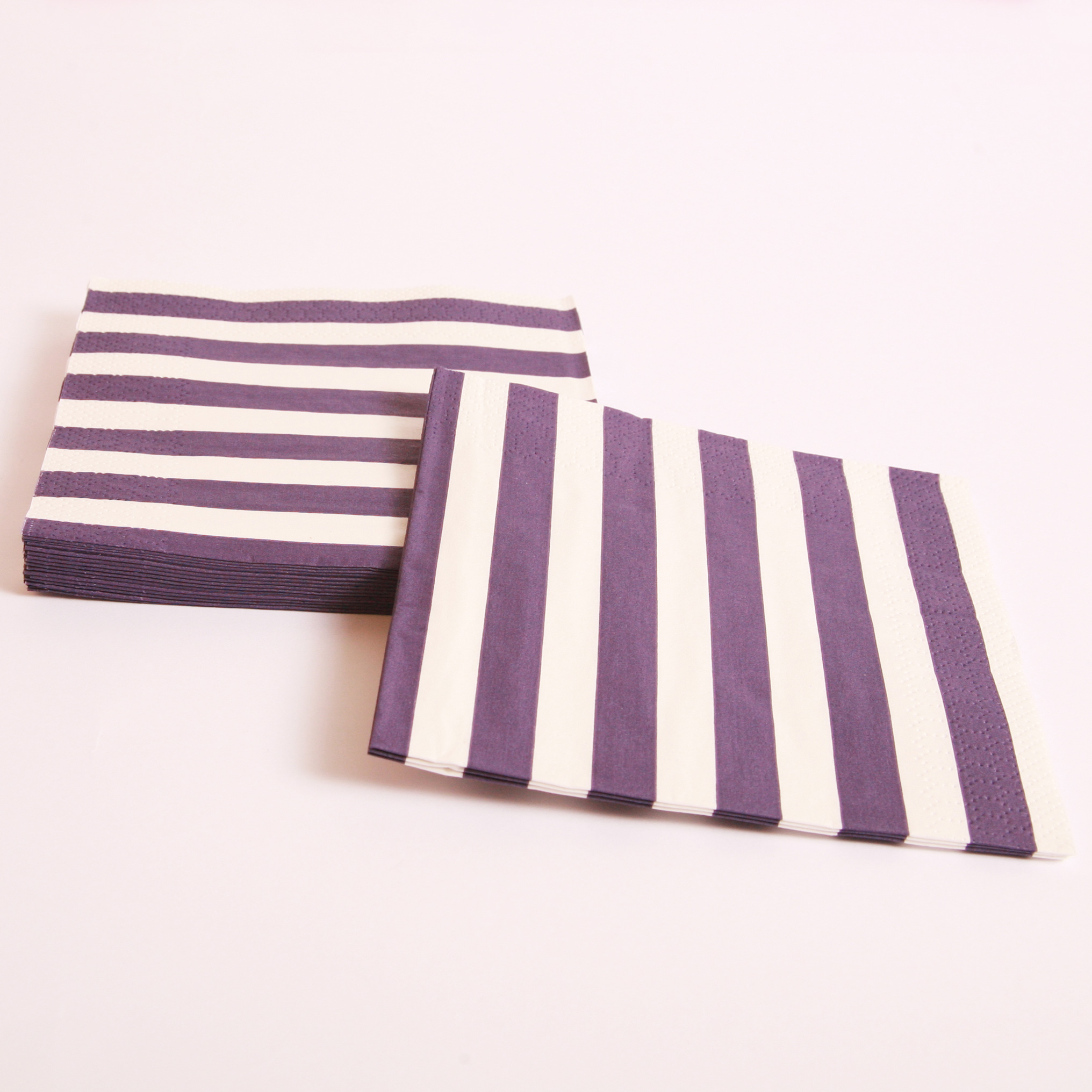 16 purple and white striped napkins