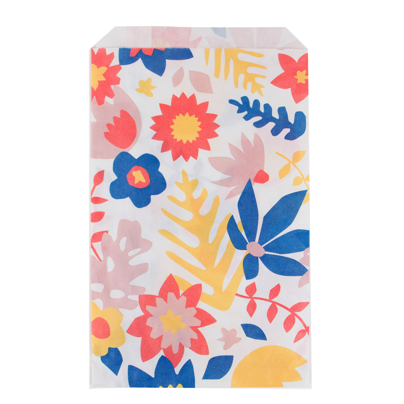 10 Tropical flowers paper bags