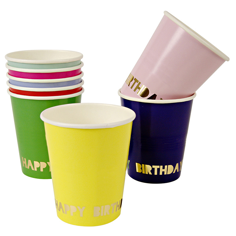 8 Happy Birthday Party Cups