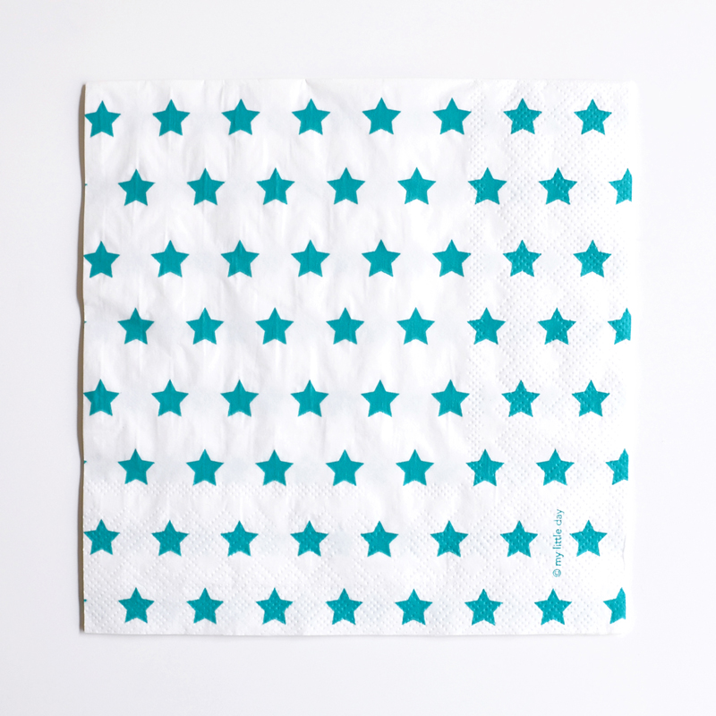 20 turquoise star napkins