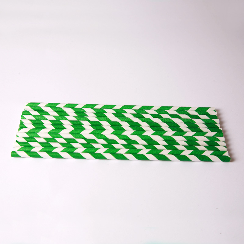 24 green stripe paper straws