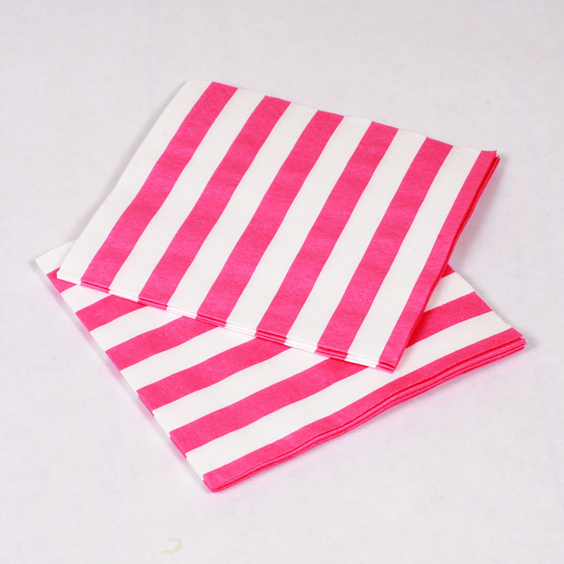 16 pink and white stripes napkins