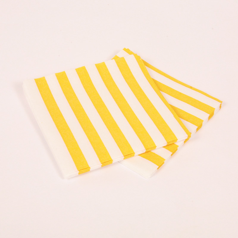 16 yellow and white striped napkins