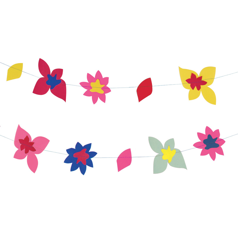 Tropical flower paper garland