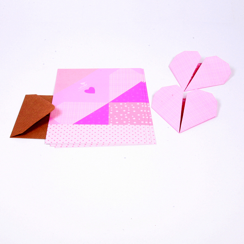 Heart origami notes