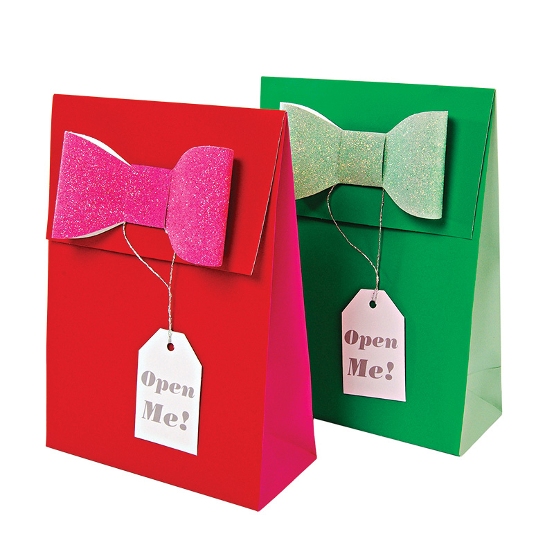 Set of 2 Glitter Bow Gift Bags