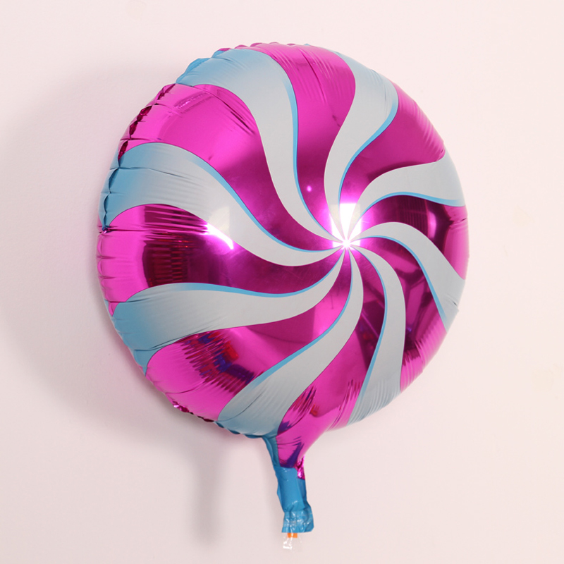 Pink and White Swirl Christmas Candy foil balloon