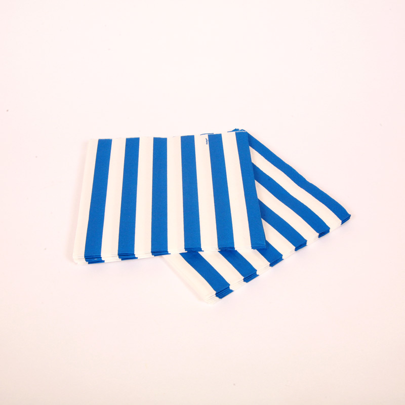 16 blue and white striped napkins