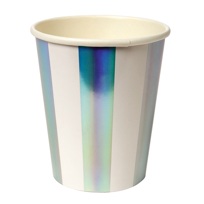 8 Holographic Silver Stripe Party Cups