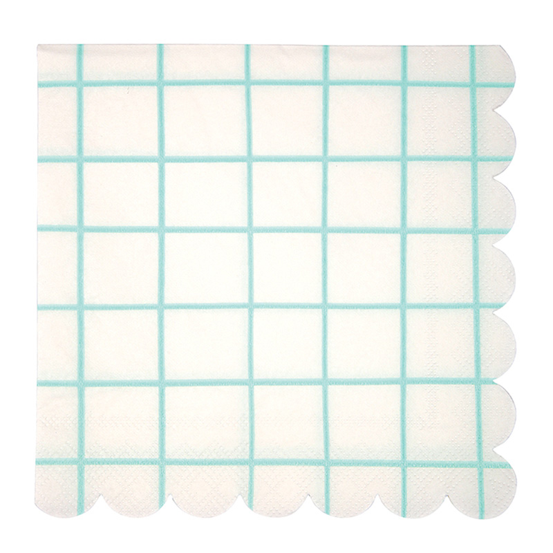 Large Mint Grid Napkins