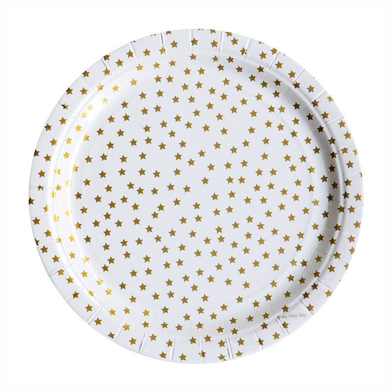 8 gold stars paper plates