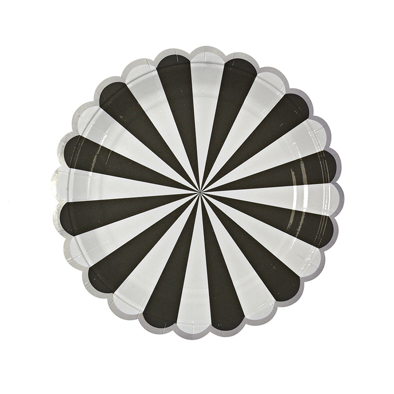 Black Stripe party plates