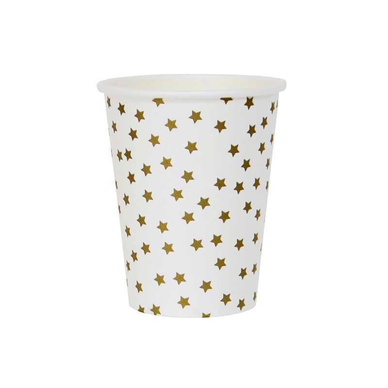 8 gold stars paper cups