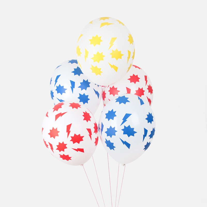 5 patterned balloons - Superhero
