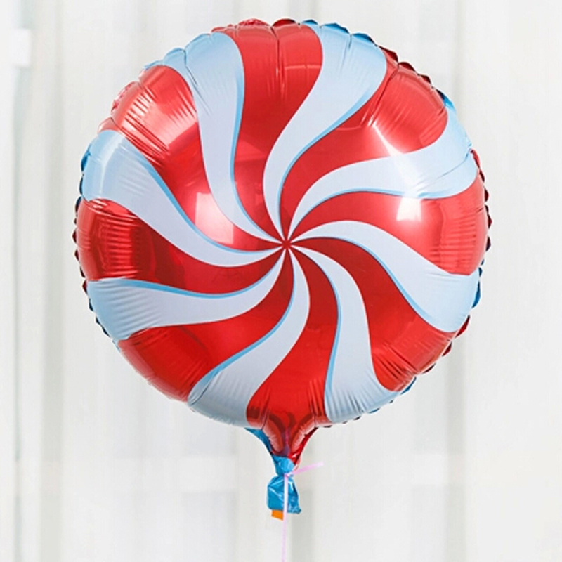 Red and White Swirl Christmas Candy foil balloon