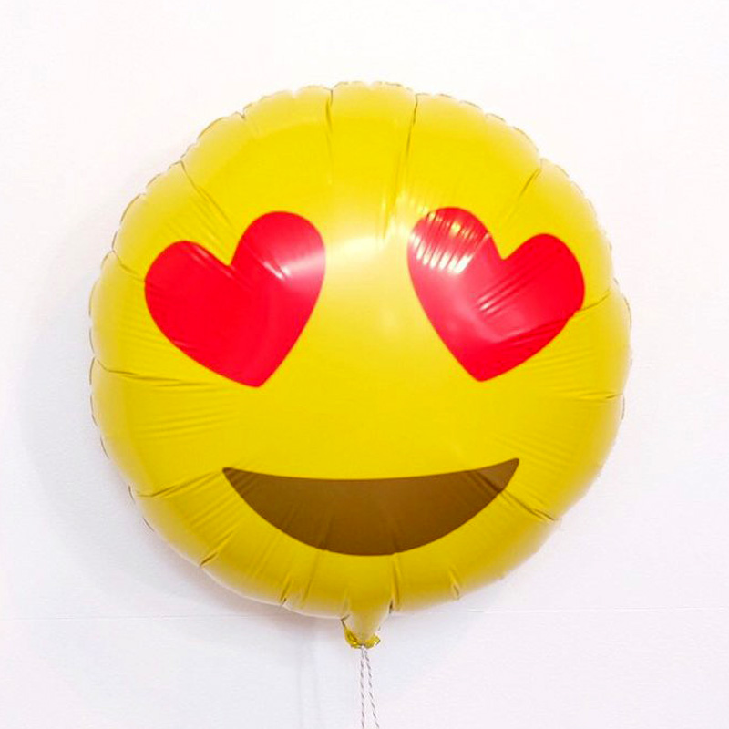 Emoji Heart Eyes Round Foil Balloon
