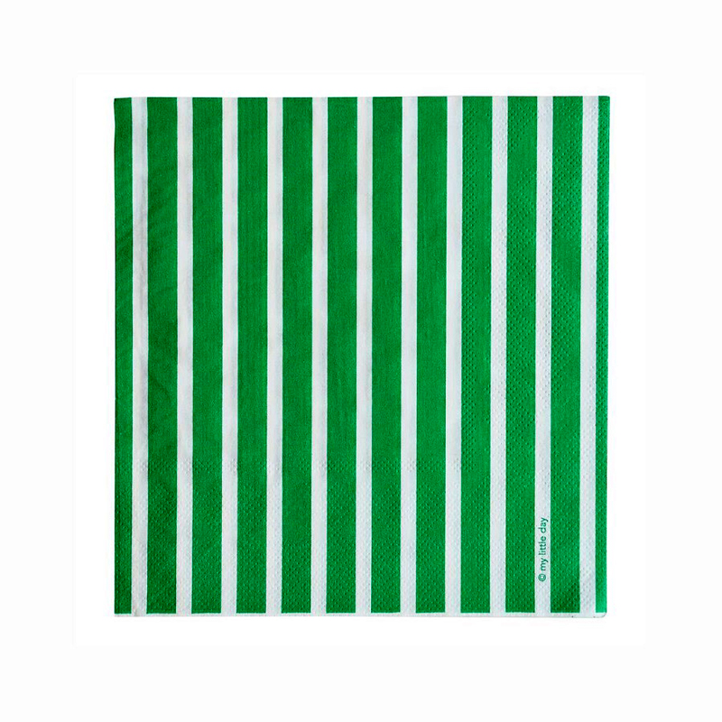 20 green and white striped napkins