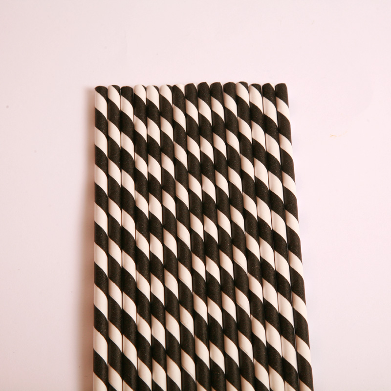 25 black stripe paper straws