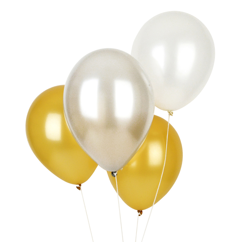 Pack of 10 balloons in metallic colours
