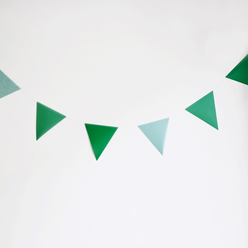 green paper bunting